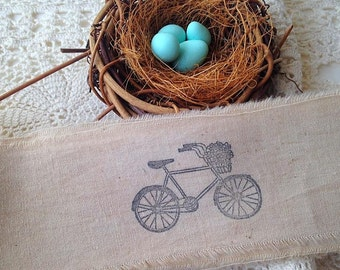 Bicycle Hand Stamped Muslin Trim, Bike Muslin Trim, Hand Dyed Muslin Ribbon, Vintage Inspired, Hand Dyed, Hand Frayed, Hand Stamped