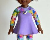 """14.5"""" Doll Clothes, Fits Wellie Wishers, 14.5"""" Doll Empire Waist, Long Sleeve Knit Top, Matching Doll Leggings, Doll Covered Snap Clips"""