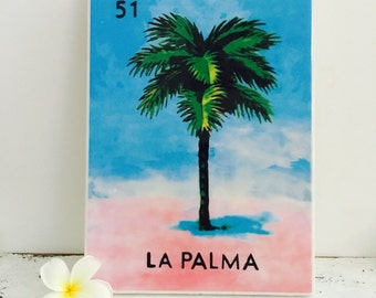 Vintage Wall Tile Mexican La Palma Loteria