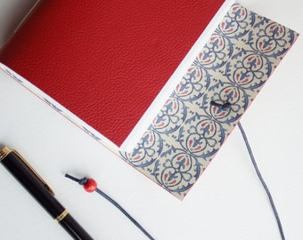 Red Leather Journal, Leather Notebook, Blank Book, Bucket List, Gratitude Journal, Leather Sketchbook, Hand Bound Journal,  A6 Journal
