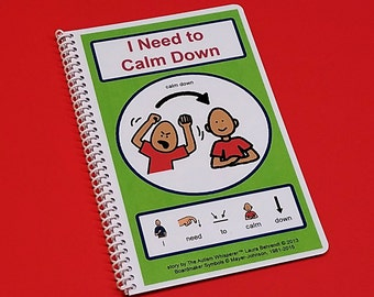 Calm Down - I Need to Calm Down- Autism Social Skills Story - PECS - self control - Visual and Social Therapy Book - Customizable