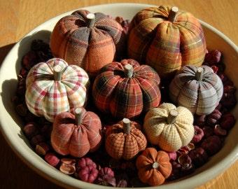 Primitive Fall Thanksgiving, Homespun Pumpkin Ornies, Mixture of Prints