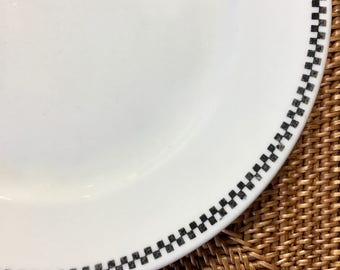 Vintage Buffalo China Dinner Plate with Black Checkered Edge for Albert Pick 1924