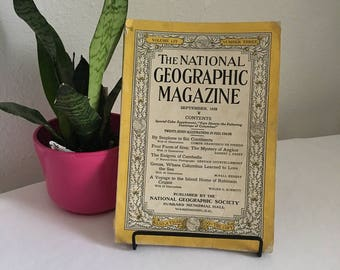 Vintage Magazine, September 1928, National Geographic, free shipping US & Canada