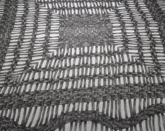 Vintage Silk Crepe Basket Weave Cane Scarf