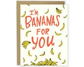 Bananas For You Card - Love Card, Anniversary Card, Couple Card