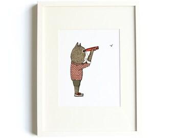 Birdwatching Bear Print - Birdwatcher Art, Bear Nursery Art, 8x10 Print, Binoculars, Kids Room Decor