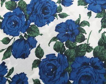 LIBERTY of LONDON Tana Lawn Cotton Fabric 'Carline' Blue Rose Floral Lg Fat Quarter 18 X 26 in