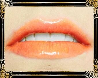 FIREBIRD Lip Gloss: 10 mL Tube, Neon Orange Glitter Lip Glaze, Iridescent Lip Color, Vanilla Flavor, Ships Out in 4-7 Days
