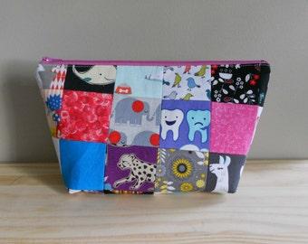 Medium Makeup Bag, Quilt Block Bag,
