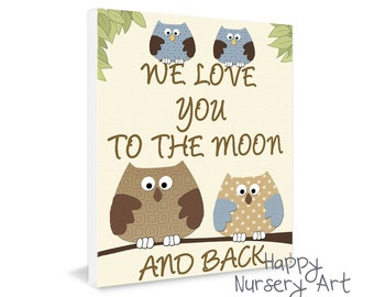 Love you to the moon nursery wall art,owls nursery art,love quote prints,baby shower gift,prints illustrations,art for nursery,art for boys