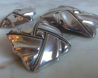 Vintage Sterling Silver Earring Brooch Pendant Set Taxco Mexico Brass Rope Twist Ribbon Clip Earrings
