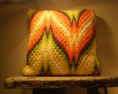 1970's Mod Retro Crewel Hand Embroidered Decorator Pillow Cover. Oranges, Yellows, Browns, Greens, White.  Bright Colors.