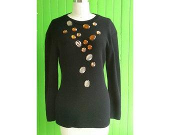 Vintage 1990s Yves Saint Laurent Embellished Black Wool Sweater