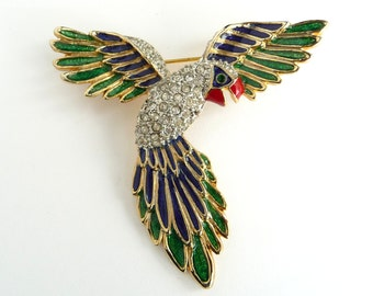 Vintage Bird Brooch Enamel Pin Gold Tone Blue and Green Enamel Red Beak Clear Rhinestones Gorgeous