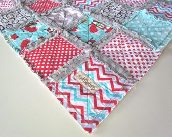 Dapper Foxes Rag Quilt with Grey Minky    Baby Rag Quilt    Fox Minky Rag Quilt    Woodland Rag Quilt    Fox Crib Bedding