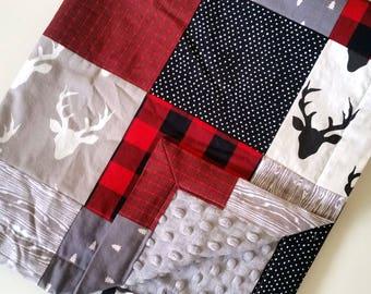 Lumberjack Patchwork Baby Blanket || Buffalo Plaid Baby Blanket || Woodland Baby Quilt || Woodsy Patchwork Blanket || Plaid Baby Blanket