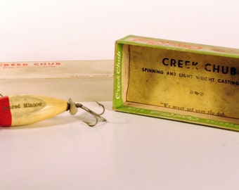 Creek Chub Lure - Injured Minnow - Red/White - Wooden with Box