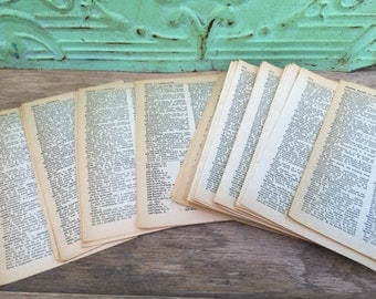 50 Vintage Dictionary Pages, Vintage Paper Ephermera, Vintage Book Pages Crafting Supplies