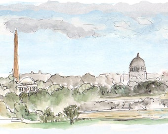 Downtown Washington DC Capital 8.5x11 giclee art print of painting of monuments, Landscape & Architecture