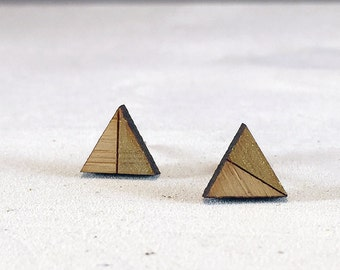 Gold Triangle Studs // Bamboo Earrings // Geometric // Hypoallergenic  // Wood Jewelry //