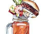Loaded Bloody Mary - Food Illustration - Original Artwork