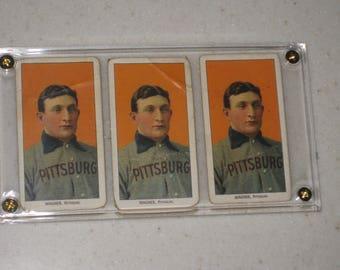 3 Card Lot 1909 t206 honus wagner with Broad Leaf,Uzit & Tolstoi cigarettes Backs  in a screwdown case