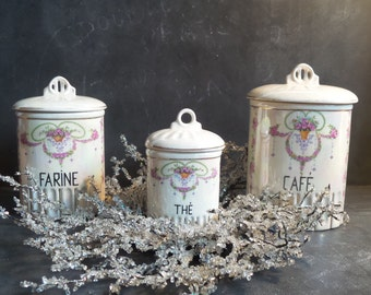 French Antique Set Of 3 Kitchen Canisters 1937. Kitchen Containers. Box.  Kitchen Storage