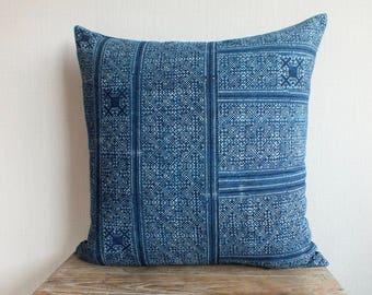 "22x22""Hmong Indigo Batik Cushion covers, Natural Indigo Batik, Tribal, Indigo- Hmong Accent Pillow - Tribal Decor"