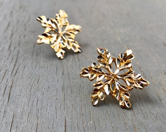 Black Hills Snowflake Earrings Sterling Silver Gold Vintage Fine Jewelry Gift for Her