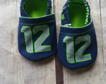 Unique Seattle Seahawks Inspired  Cloth Baby Booties READY TO SHIP