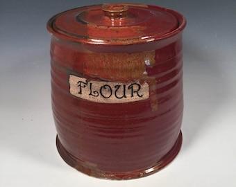 Flour Jar - Lidded Jar - Kitchen storage - red Jasper - kitchen canister - storage container
