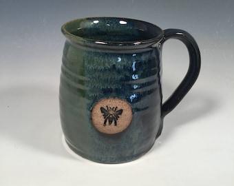 Pottery Mug -  Ceramic Coffee Cup - 16 oz - Monet Blue green - bee stamp - ready to ship - ceramics - pottery - stoneware
