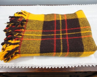"""Vintage Stadium Blanket - Brown Gold Red Plaid with Fringes - 52"""" x 62"""" - Fall Colors"""