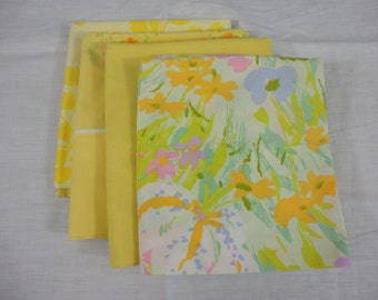 Set of Four Mismatched Pillow Cases in Yellows Golds