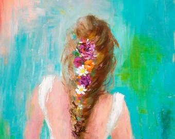 Bohemian Art Print | Portrait | Flowers in Her Hair | 8x8|12x12|16x16