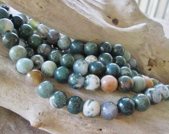 """Round 12 mm Large 4mm Hole Bead Green Fancy Jasper Fit Leather 7.5"""" Approx 17 Beads"""