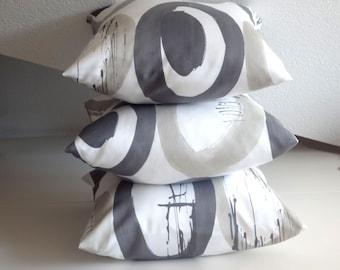 Geometric pillow,  white & grey circle, geometric cushion, modern pillow, three decorative pillows