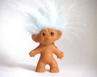 """Uneeda Wishnik Troll Powder Blue Hair """"Lucky"""" Doll"""