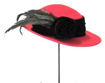 Bollman Red Doeskin Felted Wool Hat Black Velvet Band Rosette and Feathers Mid Century Style