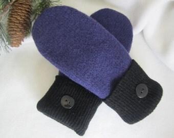 Women's purple wool mittens fleece lined size medium Ready to Ship