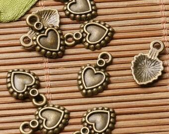 1 Heart Charms, Antique Bronze Tone 12 x 13 mm - sc582