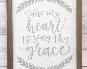"Distressed Christian Wood Sign - ""Tune my heart to sing thy grace"" - Rustic Home Decor"