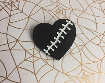 Frankenstein stitched heart pin