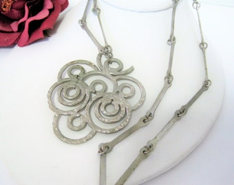 Pewter Modernist Necklace - Pewter Pendant - Long Link Chain - Brutalist Abstract - Swedish Necklace