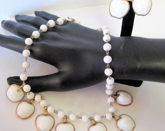 Trifari Apple Necklace Set -  White Glass - Vintage Choker and Earrings BOOK PIECE