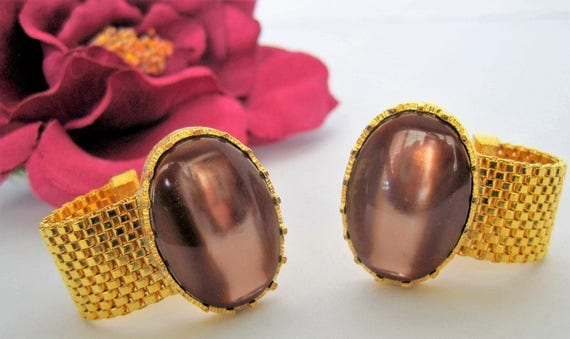 Brown Glass Cabachon Cuff Links - Signed Dante -  Large  Wrap Gold Tone