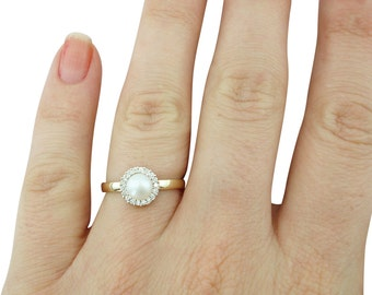 Pearl Engagement Ring, Pearl and Diamond Ring, Gifts for Her, June Birthstone Ring, Wedding & Engagement, Pearl Ring, Fast Free Shipping
