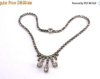 20% OFF SALE 60's Vintage Rhinestone Necklace, Vintage Wedding Jewelry, Vintage Bride