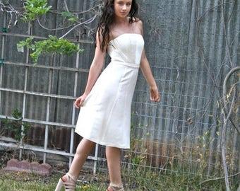 20% OFF SALE Ivory Dress, Silk Dress, Strapless Dress, Wedding Dress